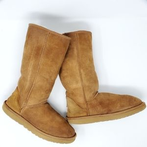 UGG Classic II Suede Shearling Tall Boots Chestnut
